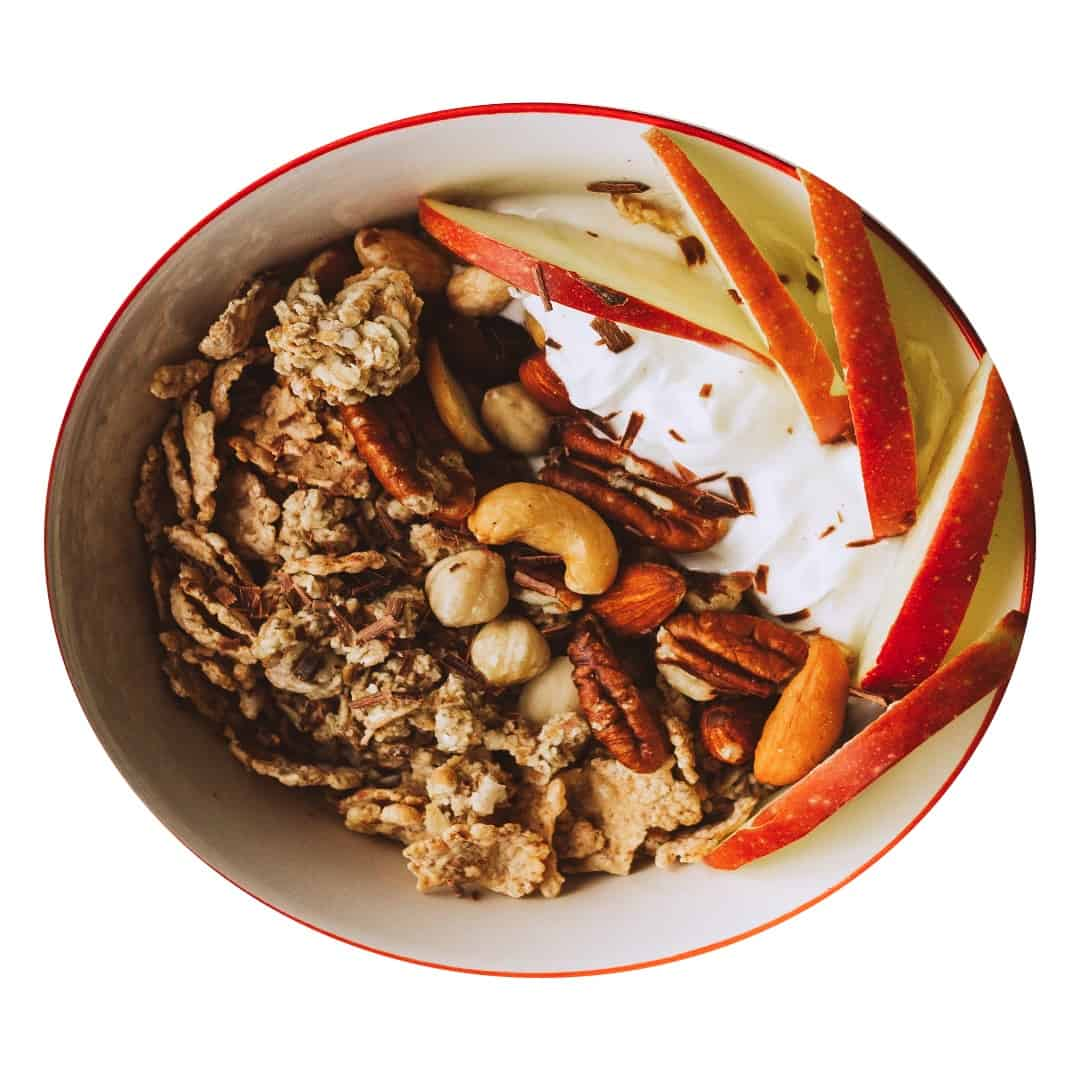 Granola maison aux pommes et aux myrtilles